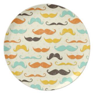 Mustache pattern 3 dinner plates