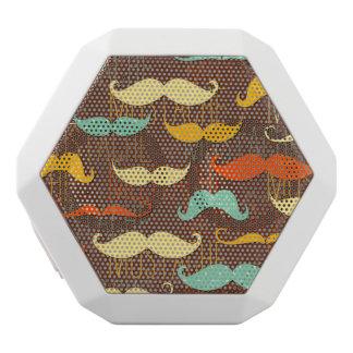 Mustache pattern white boombot rex bluetooth speaker