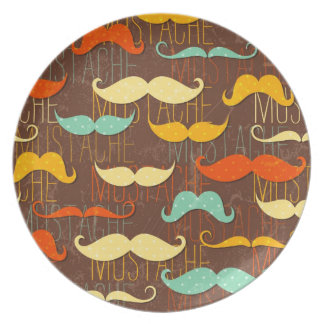 Mustache pattern party plates
