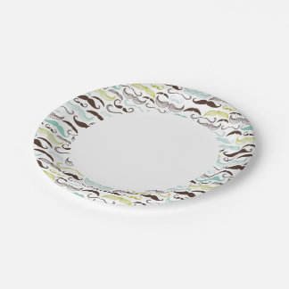 Mustache pattern, retro style 2 7 inch paper plate