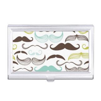 Mustache pattern, retro style 2 business card holder
