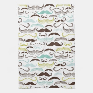 Mustache pattern, retro style 2 kitchen towel