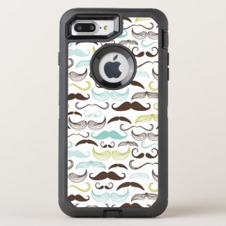 Mustache pattern, retro style 2 OtterBox defender iPhone 8 plus/7 plus case