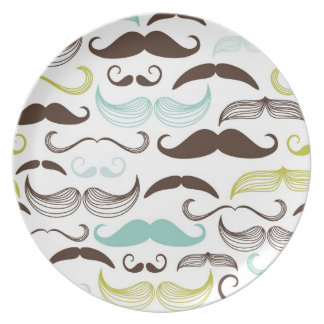 Mustache pattern, retro style 2 party plates