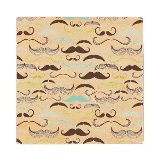Mustache pattern, retro style 2 wood coaster
