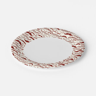 Mustache pattern, retro style 3 7 inch paper plate