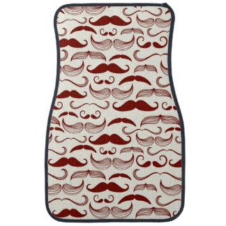 Mustache pattern, retro style 3 car mat