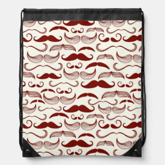 Mustache pattern, retro style 3 drawstring bag