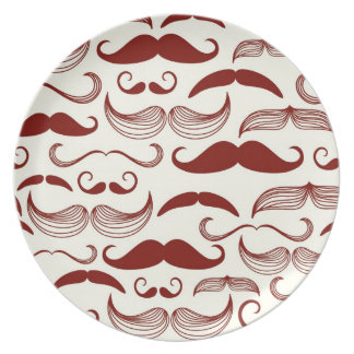 Mustache pattern, retro style 3 party plates