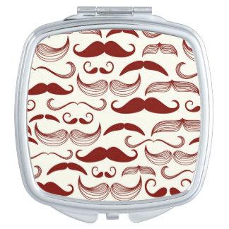 Mustache pattern, retro style 3 travel mirrors