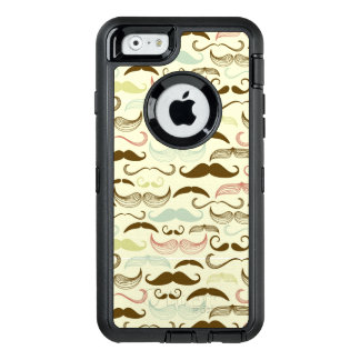 Mustache pattern, retro style 4 OtterBox defender iPhone case