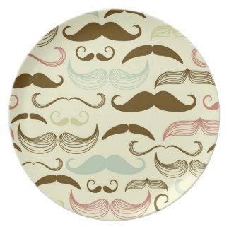 Mustache pattern, retro style 4 plate