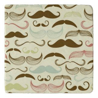 Mustache pattern, retro style 4 trivet