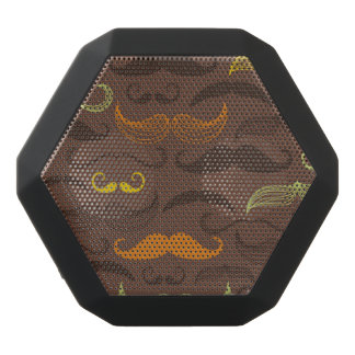 Mustache pattern, retro style 5 black bluetooth speaker