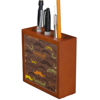 Mustache pattern, retro style 5 desk organiser