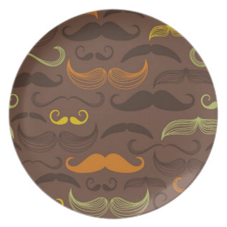Mustache pattern, retro style 5 party plate