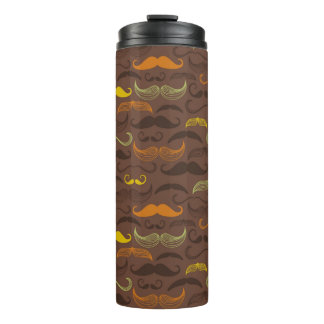 Mustache pattern, retro style 5 thermal tumbler