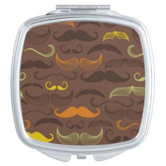 Mustache pattern, retro style 5 travel mirrors
