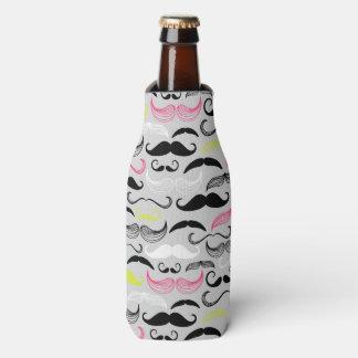 Mustache pattern, retro style bottle cooler