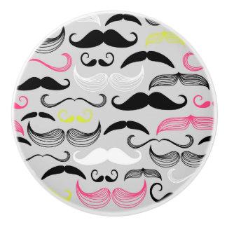 Mustache pattern, retro style ceramic knob