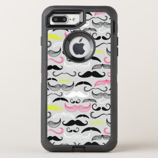 Mustache pattern, retro style OtterBox defender iPhone 7 plus case