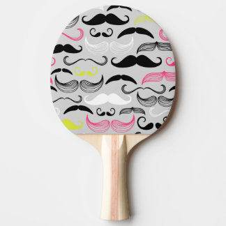 Mustache pattern, retro style ping pong paddle