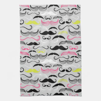 Mustache pattern, retro style towels