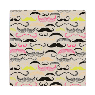 Mustache pattern, retro style wood coaster