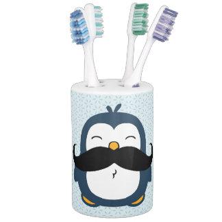 Mustache Penguin Soap Dispenser And Toothbrush Holder