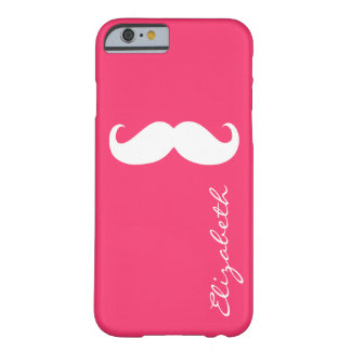 Mustache Plain Hot Pink Background Barely There iPhone 6 Case