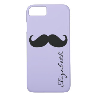 Mustache Plain Lavender Background iPhone 7 Case