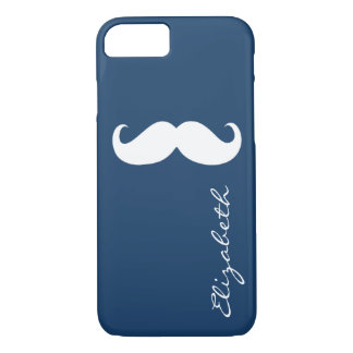 Mustache Plain Navy Background iPhone 7 Case