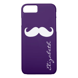 Mustache Plain Purple Background iPhone 7 Case