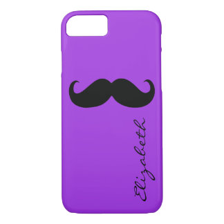 Mustache Plain Violet Background iPhone 7 Case
