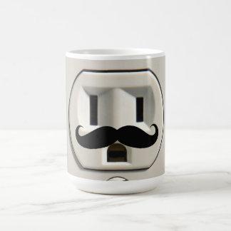 Mustache power outlet basic white mug