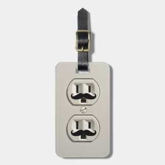 Mustache power outlet luggage tag
