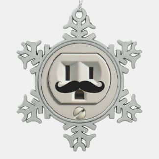 Mustache power outlet snowflake pewter christmas ornament