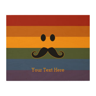 Mustache Pride custom wood canvas