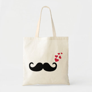 Mustache red hearts love tote bag