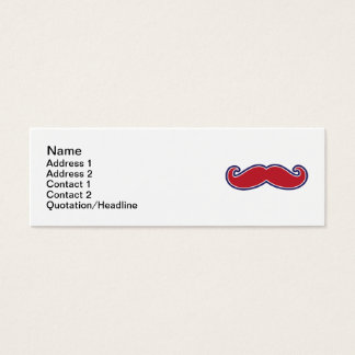 Mustache, Red, White and Blue Mini Business Card