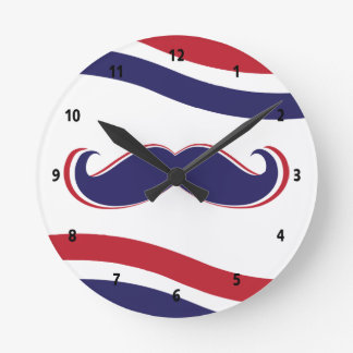 Mustache - Red, White and Blue Round Clock