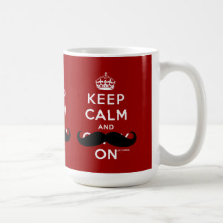 Mustache Red White Keep Calm and Carry On Mugs