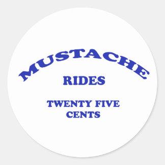 Mustache Rides Twenty Five Cents Classic Round Sticker