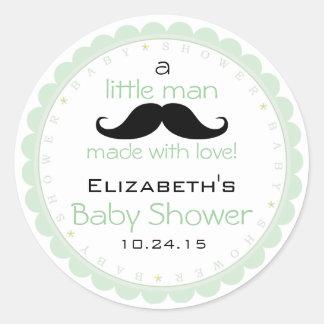 Mustache-Sage Baby Shower Round Sticker