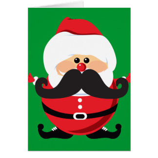 Mustache Santa Claus Greeting Cards