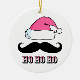 Mustache Santa Pink Christmas Ornament