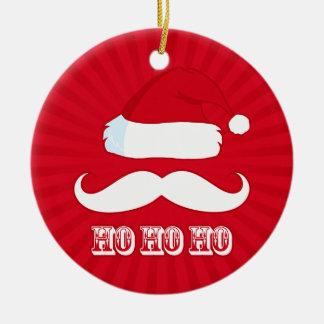 Mustache Santa Red Christmas Ornament
