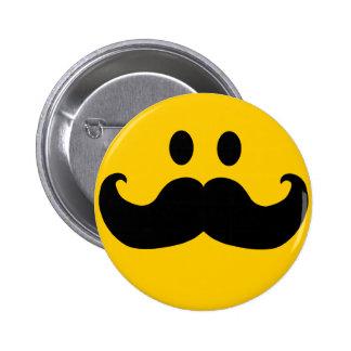 Mustache Smiley 6 Cm Round Badge