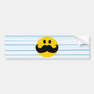 Mustache Smiley Bumper Sticker