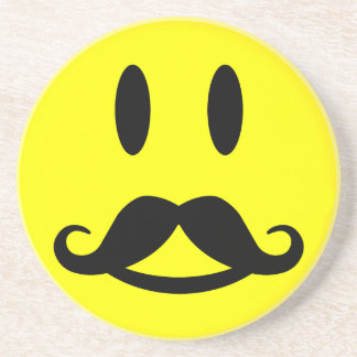 Mustache Smiley coaster